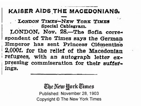 1903.11.28_The New York Times - Kaiser aids the Мacedonians